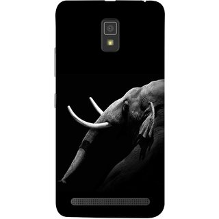 FUSON Designer Back Case Cover For Lenovo A6600 (Close Up Portrait Of A Baby Elephant Long Ears Strips Forest)