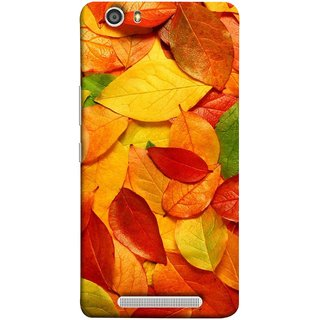 FUSON Designer Back Case Cover For Gionee Marathon M5 Lite (Multicolour Dry Leaves Painting Bright Sunny Day )