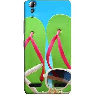 FUSON Designer Back Case Cover For Lenovo A6000 Plus :: Lenovo A6000+ :: Lenovo A6000 (Green Chappals Sand Starfish Sunny Day Sunshine)
