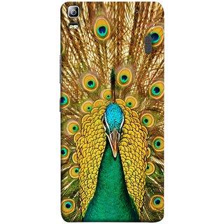 FUSON Designer Back Case Cover For Lenovo K3 Note :: Lenovo A7000 Turbo (Nice Colourful Long Peacock Feathers Beak)
