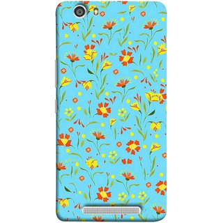 FUSON Designer Back Case Cover For Gionee Marathon M5 Lite (Grey Yellow Red Small Checks Background Fresh Flowers)