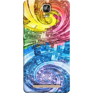 FUSON Designer Back Case Cover For Gionee Marathon M5 Plus (Yellow Pink Blue Green Galaxy Waves Circles Sprial)