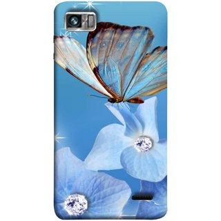 FUSON Designer Back Case Cover For Lenovo K860 :: Lenovo IdeaPhone K860 (In Center Glitter Diamonds Flowers Butterfly Nature)
