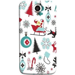 FUSON Designer Back Case Cover For Lenovo S820 (Santaclaus New Year Igloo Snowflakes Candy Cane )