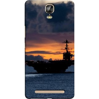FUSON Designer Back Case Cover For Gionee Marathon M5 Plus (Sunrise Sunset With Silhouette Of Navy Ship Sailing Away)