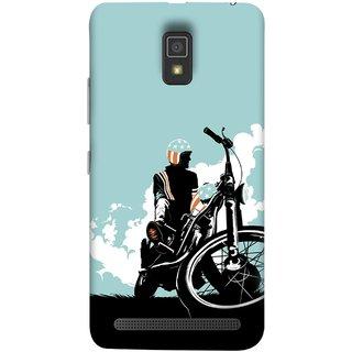 FUSON Designer Back Case Cover For Lenovo A6600 (Wheels White Clouds Grass Bike Usa Flag Helmet )