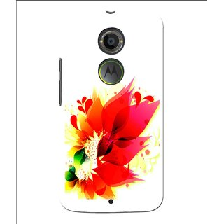 Snooky Printed Flowery Red Mobile Back Cover For Moto X 2nd Gen. - Multi