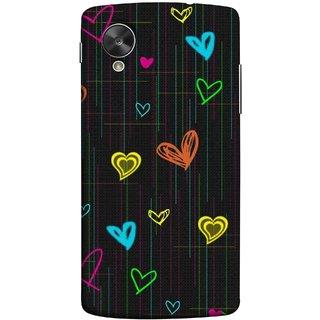 FUSON Designer Back Case Cover For LG Nexus 5 :: LG Google Nexus 5 :: Google Nexus 5 (Multicolour Hearts Shapes Shining Shapes Loopable)