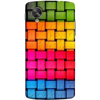 FUSON Designer Back Case Cover For LG Nexus 5 :: LG Google Nexus 5 :: Google Nexus 5 (Bright And Beautiful Colour Strips And Band Glossy)