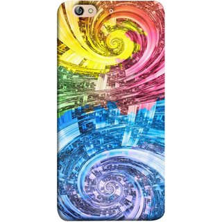 FUSON Designer Back Case Cover For Gionee Elife S7 (Yellow Pink Blue Green Galaxy Waves Circles Sprial)