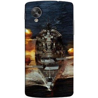 FUSON Designer Back Case Cover For LG Nexus 5 :: LG Google Nexus 5 :: Google Nexus 5 (Indian Submarine Shoots Ship With Missile Training )