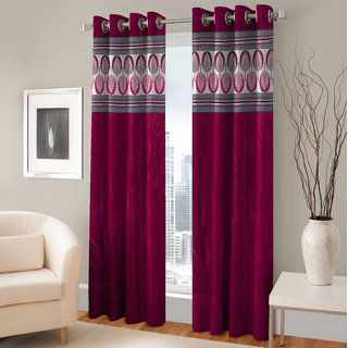 Pari Home furnishing Vine Polyester Door Eyelet Curtain Set Of 2