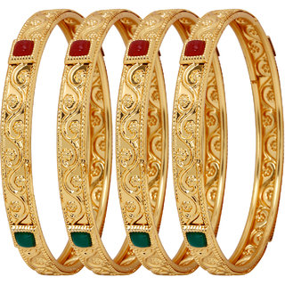 Penny Jewels Alloy Party Wear Gold Plated Traditional Luxurious Designer Bangles Set For Women  Girls (Pack Of 4)