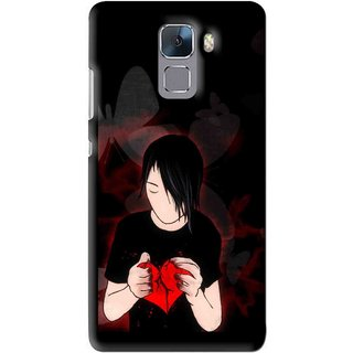 Snooky Printed Broken Heart Mobile Back Cover For Huawei Honor 7 - Multi