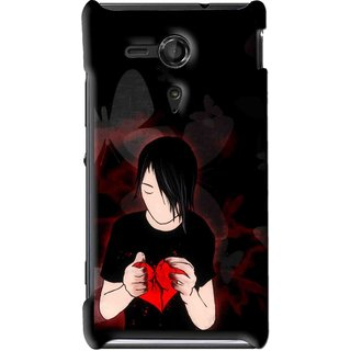 Snooky Printed Broken Heart Mobile Back Cover For Sony Xperia SP - Multi