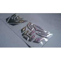 Transformers Autobots  Decepticon 3D soft Sticker Emblem Decal Bike Car Door Silver
