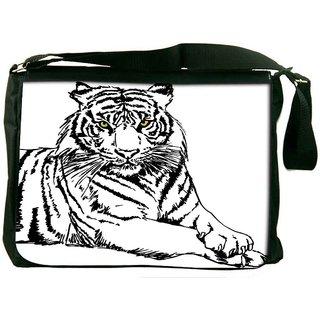 Sketch Of White Tiger Vector Illustration Designer Laptop Messenger Bag