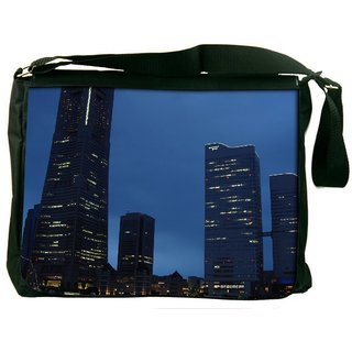 Abstract Building Digitally Printed Laptop Messenger  Bag