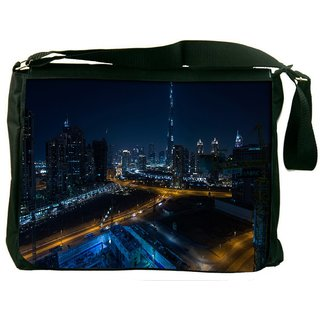 Night View Of Burj Khalifa Digitally Printed Laptop Messenger  Bag
