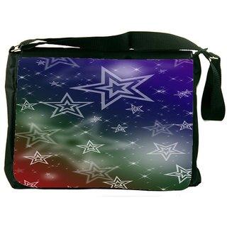 White Stars 2378 Digitally Printed Laptop Messenger  Bag