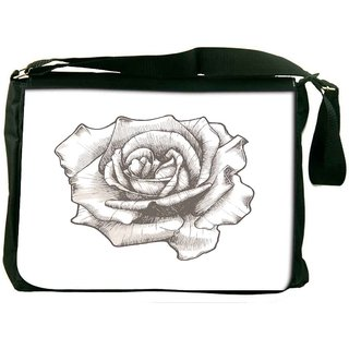 Hand Drawn Rose Vector Illustration Designer Laptop Messenger Bag