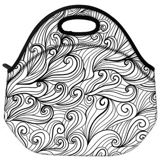 Black Pattern Grey Travel Outdoor CTote Lunch Bag