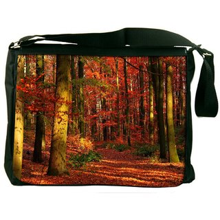 Red Blossom Forest Digitally Printed Laptop Messenger  Bag