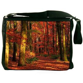 Red Blossom Forest Digitally Printed Laptop Messenger  Bag