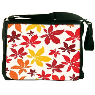 Colorful Leaves Digitally Printed Laptop Messenger  Bag