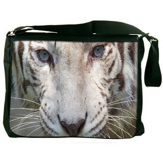 White Tiger Digitally Printed Laptop Messenger  Bag