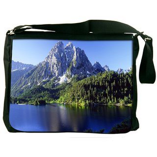 White Mountains And Trees Digitally Printed Laptop Messenger  Bag