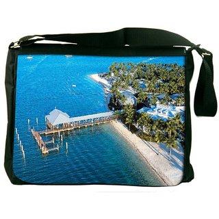 Blue Beach Digitally Printed Laptop Messenger  Bag
