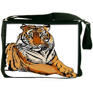 Sketch Of White Tiger Vector Illustration Designer Laptop Messenger Bag