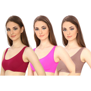 Hothy Women's Full Coverage Maroon Pink  Beige Sports Bra (Pack Of 3)
