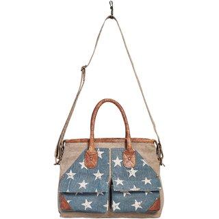 Mona B Up-Cycled Canvas Bag Twilight Messenger bag Size 15.5 W x 11.5 H x 4 D 6 Handle 30