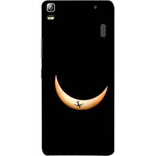 FUSON Designer Back Case Cover For Lenovo K3 Note :: Lenovo A7000 Turbo (Black Background Yellow Moon Beam Lovely Picture)