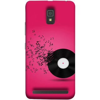 FUSON Designer Back Case Cover For Lenovo A6600 (Vinyl Disc With Music Notes Music Lover And Collector )