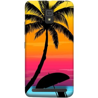 FUSON Designer Back Case Cover For Lenovo A6600 (Colorful Island Sunset Painting Canvas Wallpapers )