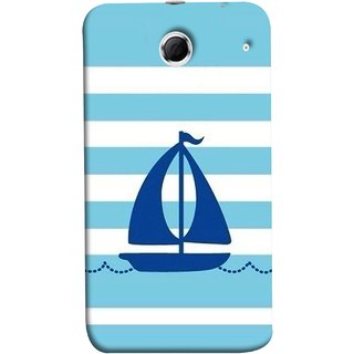 FUSON Designer Back Case Cover For Lenovo K880 (Waves Horizontal Strips Color Yacht Navy Ocean Sea )