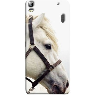 FUSON Designer Back Case Cover For Lenovo K3 Note :: Lenovo A7000 Turbo (Beautiful Horse White Closeup Canvas Wallpaper)
