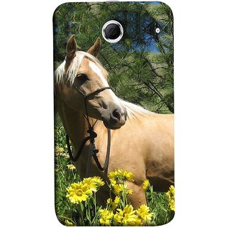 FUSON Designer Back Case Cover For Lenovo K880 (Pony Field Coffee Colour Horse Strong Walking )