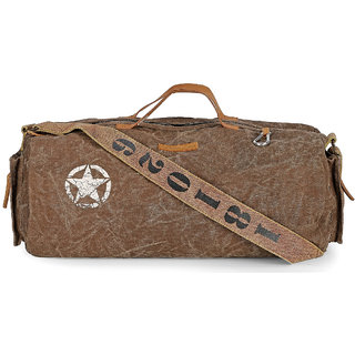 The House Of Tara Distress Finish Canvas Duffle Gym Bag (Acorn Brown)