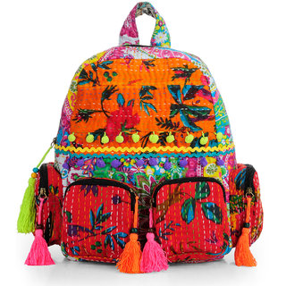 The House of Tara Patchwork Fabric Backpack in Kantha Work HTBP 143