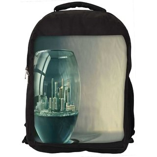 City In Fish Tank Digitally Printed Laptop Backpack