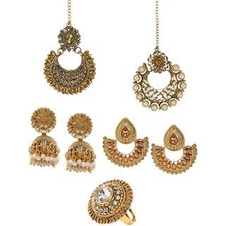 Zaveri Pearls Combo of 2 Maangtika  2 Pair of Earring  1 Finger Ring  - ZPFK6285