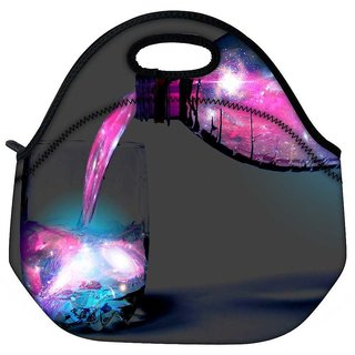 Multicolor Bottle And Glass Travel Outdoor Tote Lunch Bag