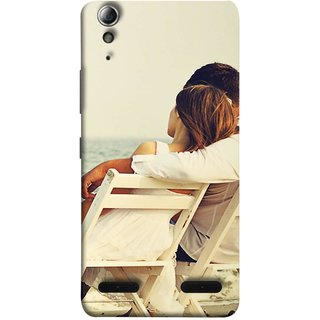 FUSON Designer Back Case Cover For Lenovo A6000 :: Lenovo A6000 Plus :: Lenovo A6000+ (Beautiful Husband Wife Lovers Valentines Sitting Sea Shore)
