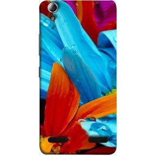 FUSON Designer Back Case Cover For Lenovo A6000 :: Lenovo A6000 Plus :: Lenovo A6000+ (Blue Prange Pink Multicolor Pink Flowers Patterns)