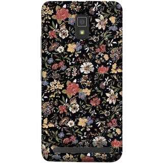 FUSON Designer Back Case Cover For Lenovo A6600 (Cotton Quilt Fabric Susie Butterfly Floral )
