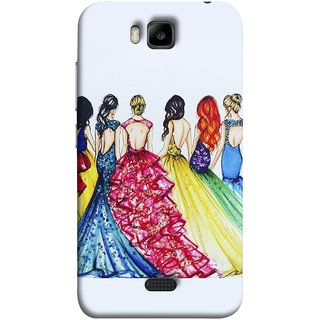 FUSON Designer Back Case Cover For Huawei Honor Bee :: Huawei Honor Bee Y5c (Backless Prom Dress Gowns Dolls Curly Hairs Long)